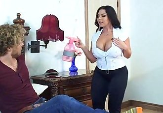 BBW stepmom with huge tits blows and fucks young guy