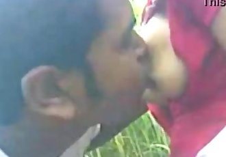 young indian girl boos sucking at the out door with her bf