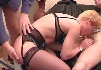 Ripe blonde bitch fucked in threesome