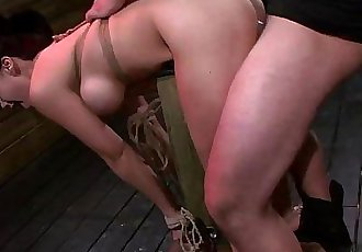Tied up and bent over a post babe roughly fucked - 6 min