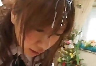 Beautiful teen maid disgraced by lots of thick men juice - 7 min