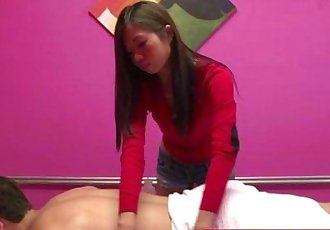 Skinny tugging masseuse with tanline - 8 min HD