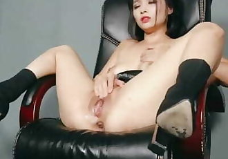 Asian Girl on Sequin Dress Masturbates and Gets Hard Squirt