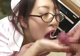 16 cumshots for cute Japanese Nurse - Japanese Bukkake Orgy