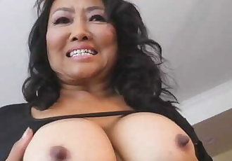 Thai Granny Plays with her Tits and Pussy
