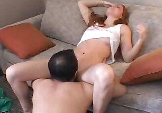AMWF Farrah Flower USA Woman Red Hair Hot Pussy Interracial Sex Chinese Man