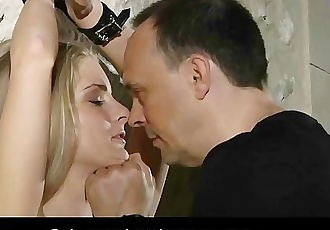 Brutally teached to obey big tits slave opens mouth for bondage blowjob