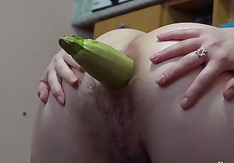 young brunette ass fuck eggplant and zucchini. gaping ass