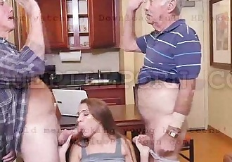 Sexy blonde Molly Mae fucking with horny grandpas