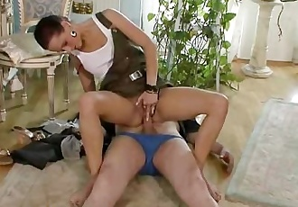 Horny dad licks and fucks son\