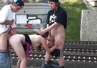 Young blonde teen railroad PUBLIC orgy gang bang in broad daylight