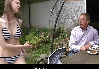 Old man gets to fuck with a beautiful young girlHD