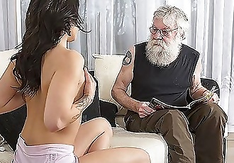 Old Young Porn Sexy Teen Fucked by old man on the couch she rides his cock