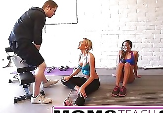Steamy workout turns hardcore with Step mom and Step daughter