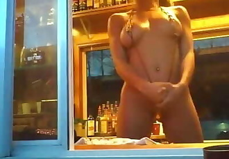 GIRL FLASHING BIKINI CAFFEE BARISTAS