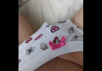 Playing with myself in my Cute Panties, Fingering and Cumming