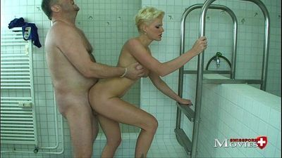 Cleaning Teeny Scarlet Young cleans a cock in the shower - 2 min