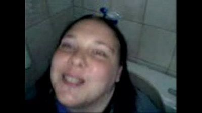 bathroom toy: my fat & ugly fuckpig whore on the toilet - 2 min
