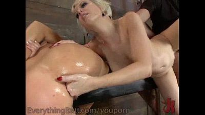 Ass Fetish: Cherry Torn and Krissy Lynn lesbian strap-on anal fuck threesome - 4 min