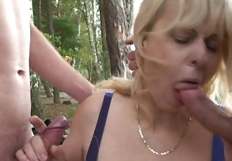 Oldie in hot threesome outdoor