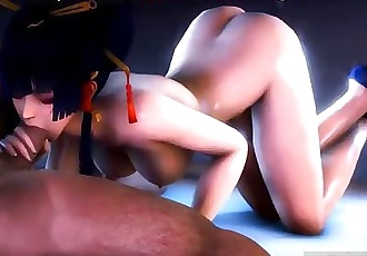 Asian cutie sucks black cock, NYOTENGU HMV ,porn game!