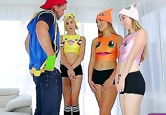 Horny Pokemon trainer bangs 3 sexy Pokehoes 7 min HD
