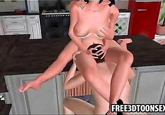 3d cartoon sex game action with a hot threesome having sex - 2 min