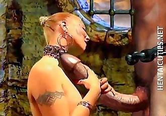 Horny 3D hentai bitch suck a huge penis - 5 min