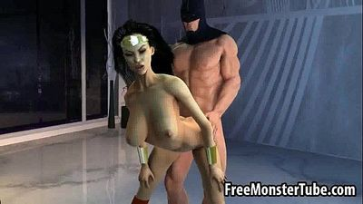 Sexy 3D Wonder Woman getting fucked hard by BatmanOMAN1-high 1 - 3 min