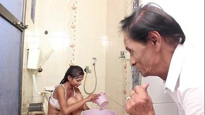 Hot Baby Bathing and sex with Father in law - 13 min