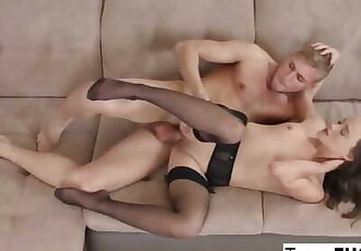 Genevieve Venom Seduces him in Lingerie and Stockings!