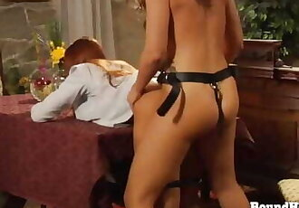 Lesbian Slave uses Big Oily Strapon to Pleasure her Naughty Mistress