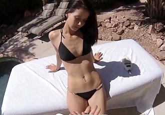 POVD Girl gets fucked and eats cum outside by poolHD