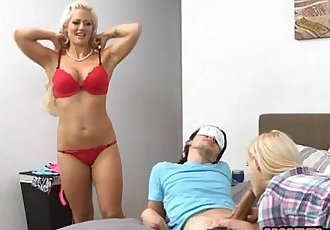Holly Heart and Aubrey Gold hot threeway in the bedroom