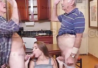 Horny old guys bangs Raylin Anns tight pussy