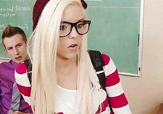 Geeky schoolgirl Halle Von fuck in classroomHD