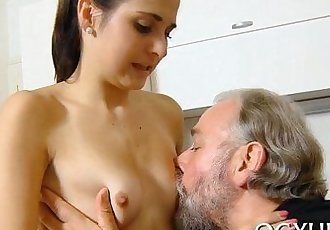 Young active cutie blows old ramrod