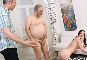 Wicked old dude fucks young throat