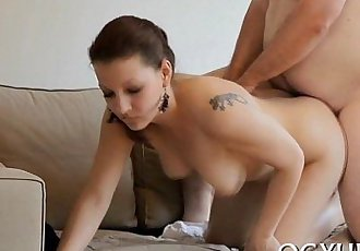 Steaming young hottie bonks old guy