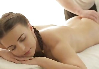 Teen beaut riding her masseur\