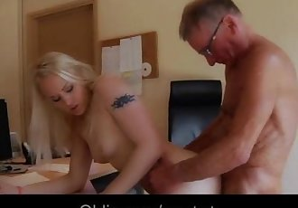 Hot blonde secretary fucking old boss