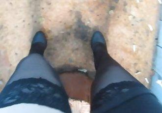 Pissing in public toilet. herself filmed on camera)