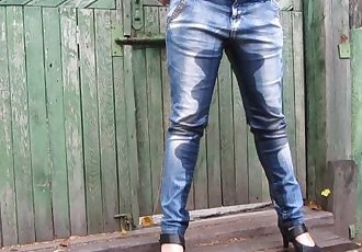 pissing in jeans and shoes