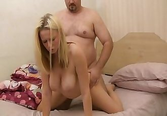 Hot blonde with big tits gets a creampie