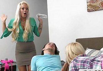 Gorgeours Stepmom Sneaks Upon a Young CoupleHolly Heart, Aubrey GoldHD