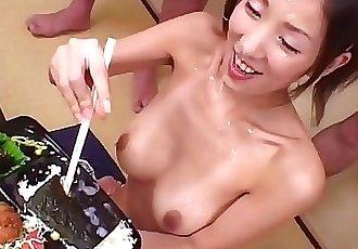 Cum And Sushi for 18 year old Japanese TeenJapanese Bukkake Orgy 12 min HD