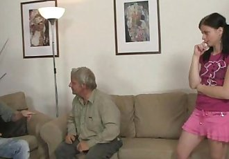 GF rides her BFs dad cock after lezzie with mom - 6 min