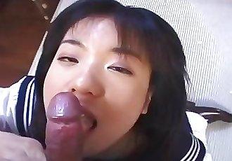 Schoolgirl in action