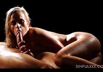 Sensual slow handjob and blowjob