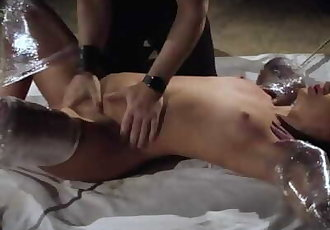 Rough bondage slapping her pussy and the slave screams